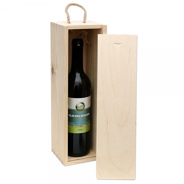 Holz Weinkiste für 1 Flasche zum aufschieben, natur 11 x 10 x 35 cm