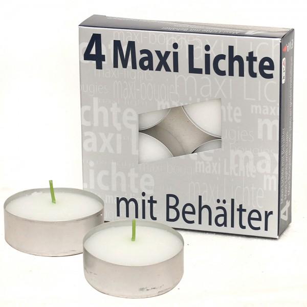 4er Set Maxi-Teelichte mit Alu-Tülle, weiß 5,7 x 5,7 x 1,7 cm
