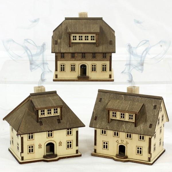 Holz Räucher-Haus Seiffen 3-fach sort. 8,2 x 6 x 8,3 cm im Set