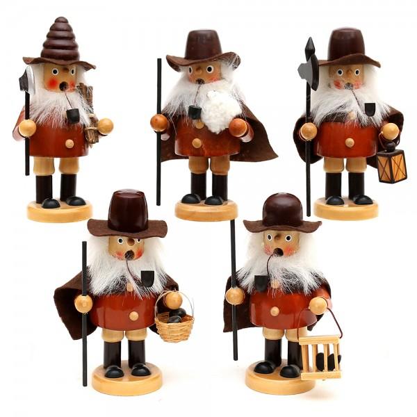 Holz Räuchermann, braun 5-fach sort. 7 x 5 x 13,5 cm im Set