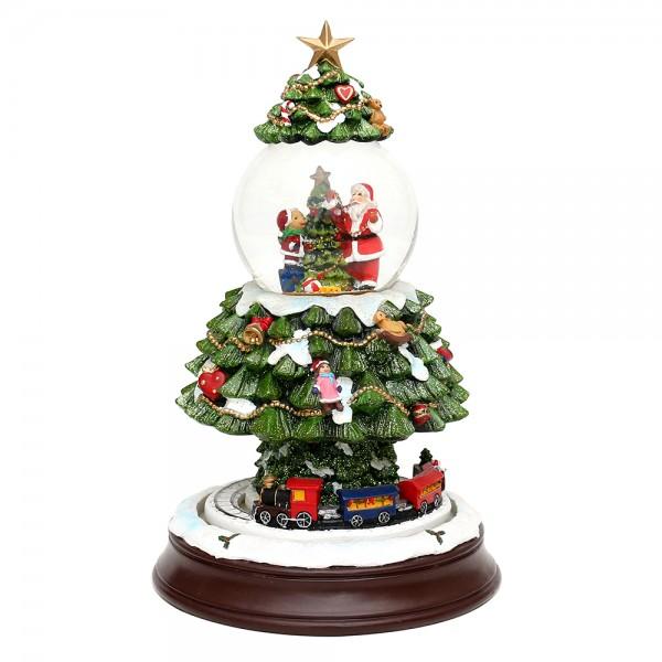 Polyresin Schneekugel Baum mit bewegter Eisenbahn groß 17 x 17 x 27,5 cm Ø 8,5 cm Batteriebetrieb AA, LED, Bewegung, Farbwechsel, Glitterwirbel, Sound