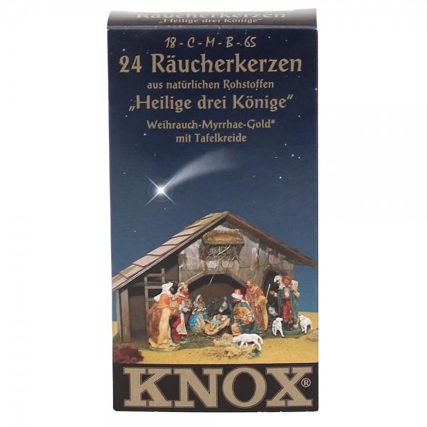 KNOX-Räucherkerzen Heilige drei Könige Weihrauch-Myrrhe-Gold, mit Tafelkreide 6,5 x 2,2 x 12,5 cm