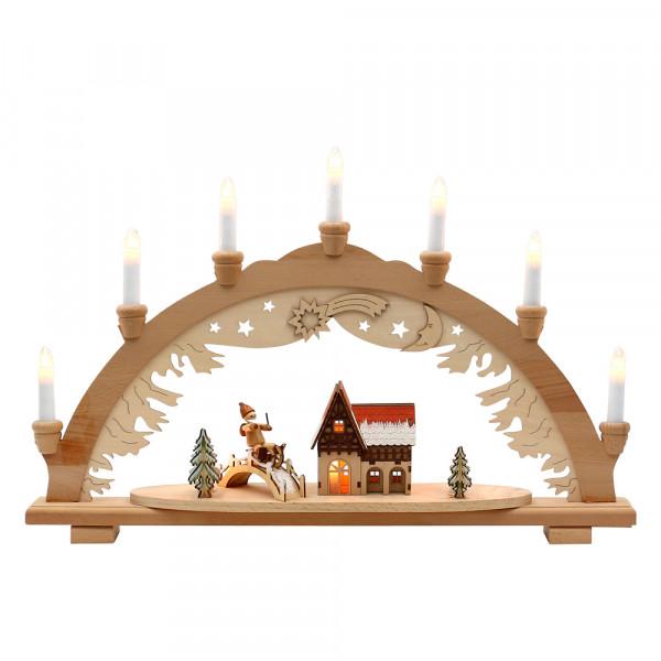 Holz Schwibbogen Winterfiguren & Waldhaus mit Brücke verschneit innen beleuchtet (Premiumholz) 57 x 9 x 38 cm 230 V Kabel, 10 flammig, SPK