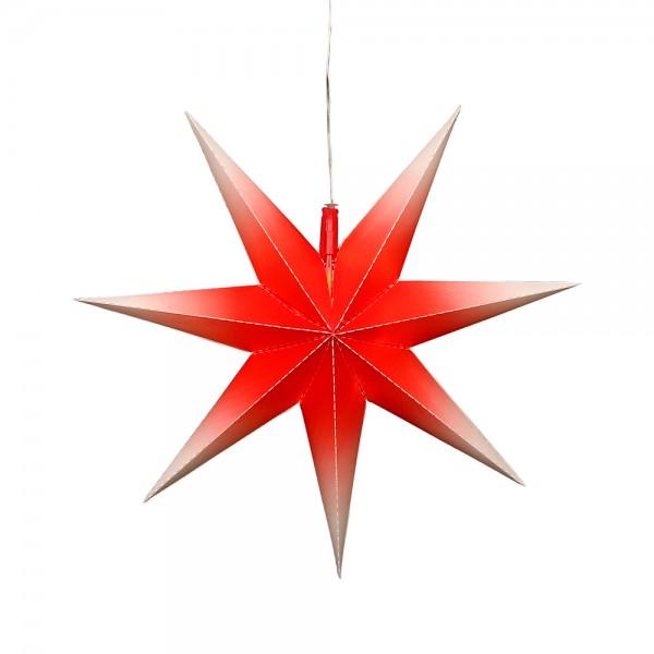 Kunststoff Falkensteiner Adventsstern Fensterstern 7 Spitzen zum Aufklappen, rot/weiß 45 x 13 x 45 cm inkl. Adapter 4,5 V, LED, wetterfest/für außen geeignet