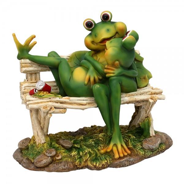 Polyresin Frosch Liebespaar auf Bank 25,5 x 22 x 32,5 cm