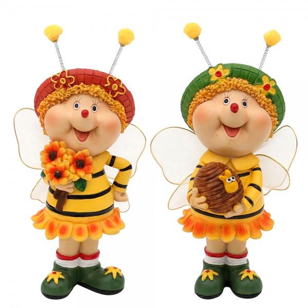 Polyresin Bienen Sarah & Marie stehend 2-fach sort. 11 x 6,5 x 19 cm im Set