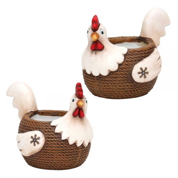 Keramik Hühner Füllgefäß, braun/creme 2-fach sort. 10 x 12 x 14,5 cm Ø 6 cm im Set