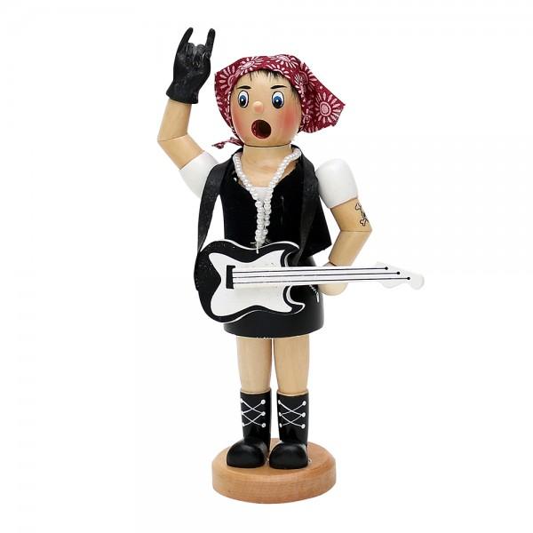 Holz Räucherfrau Rock-Lady mit Gitarre & Kopftuch 9 x 5 x 19 cm