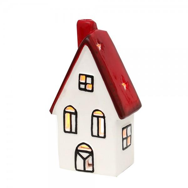Dolomite Windlichthaus weiß/rot glasiert 7,7 x 5 x 14 cm