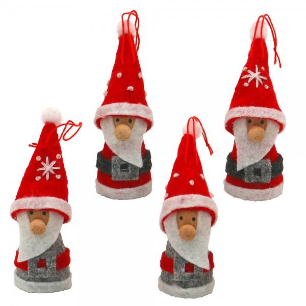 Textil Weihnachtswichtel mit Gürtel mit Anhänger (Strickware), grau/rot 4-fach sort. 2 x 2 x 6 cm im Set