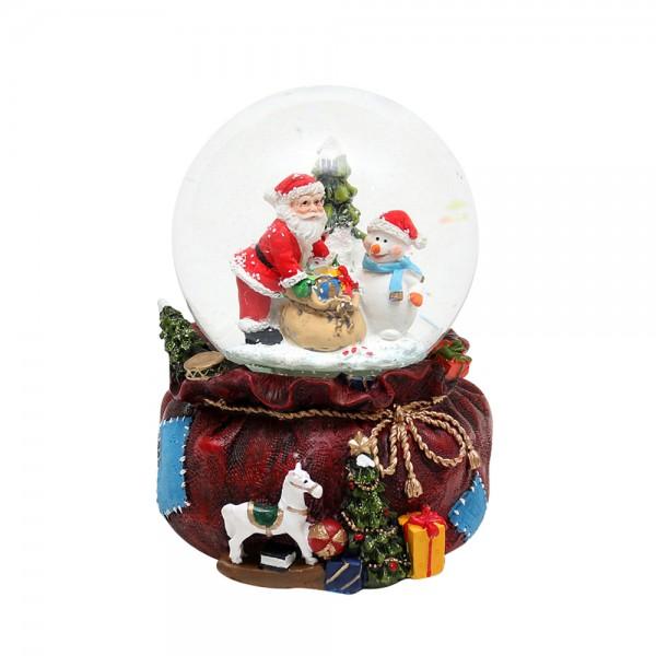 Polyresin Schneekugel Weihnachtsmann mit Geschenkesack mittel 11,5 x 13 x 15 cm Ø 10 cm Batteriebetrieb AAA, LED, Farbwechsel, Glitterwirbel, Sound