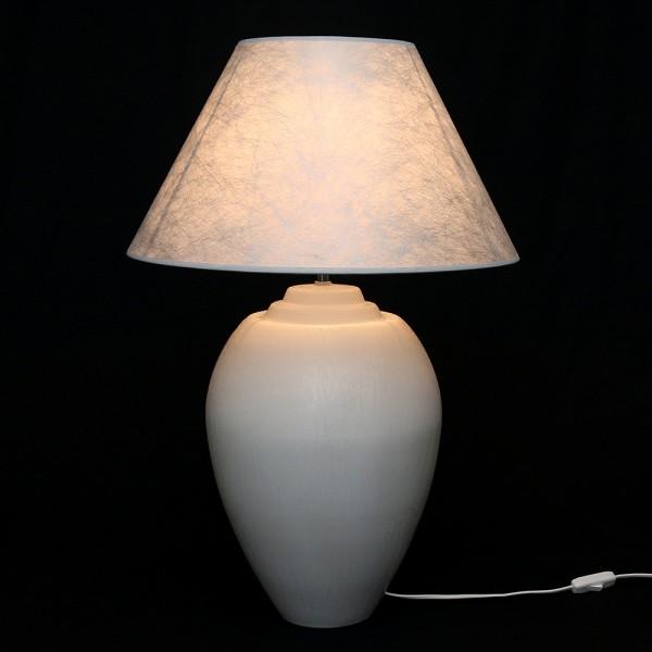 Keramik Tischlampe Alfa (Leuchtmittel nicht enthalten), Weiß 45 x 45 x 68 cm 230 V Kabel, E27