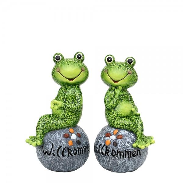 Keramik Frosch sitzend auf Stein Willkommen 2-fach sort. 13,5 x 11,7 x 24,8 cm im Set