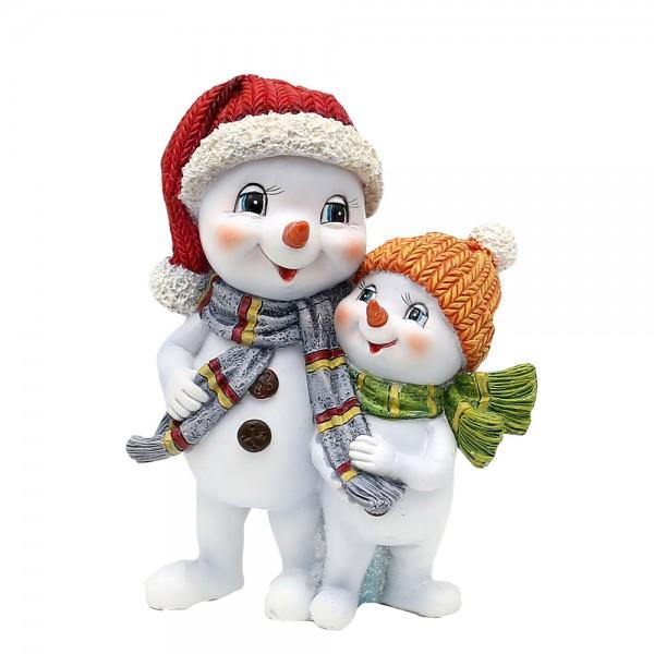 Polyresin Schneekinderpaar mit Mütze und Schal rot/orange stehend 11 x 7 x 15 cm