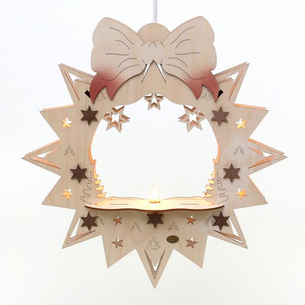 Holz Fensterbild leer Schleife komplett braun 36 x 7 x 38 cm 230 V Kabel, 5 flammig