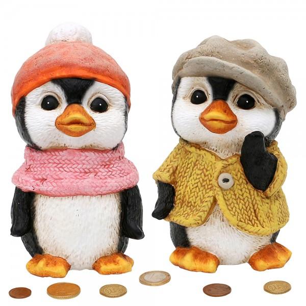 Keramik Sparfigur Pinguin 2-fach sort. 9,8 x 10,3 x 17,7 cm im Set
