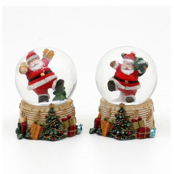 Polyresin Schneekugel fröhlicher Weihnachtsmann mit Geschenken auf Sockel mit Musiknoten 2-fach sort. 5 x 5 x 6,3 cm Ø 4,5 cm im Set