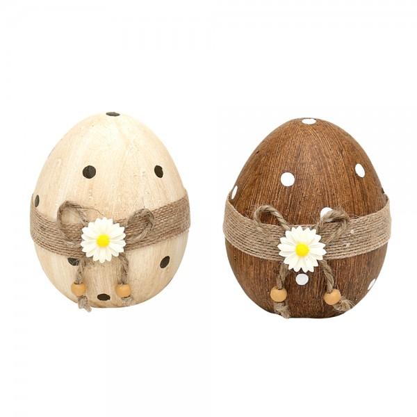 Keramik Deko-Ei mit Jute & Blume, natur/braun 2-fach sort. 8 x 9 x 10 cm im Set