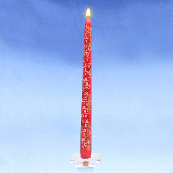 Adventskalender-Spitzkerze mit Abziehbild, rot 2 x 2 x 29 cm