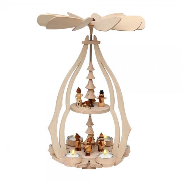 Holz Tischpyramide Winterfiguren groß für 6 Teelichte 24 x 24 x 45 cm