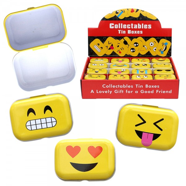 Metall Emoji Blechdose eckig 16-fach sort. 6 x 4 x 3 cm im Set