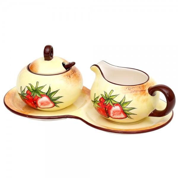 3er Set Dolomite Zuckerdose mit Löffel & Milchkännchen auf Platte Erdbeere 23 x 12,5 x 8 cm