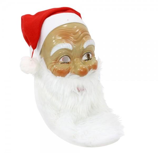 Kunststoff Nikolaus-Maske mit Mütze & Plüschbart 15 x 14 x 80 cm
