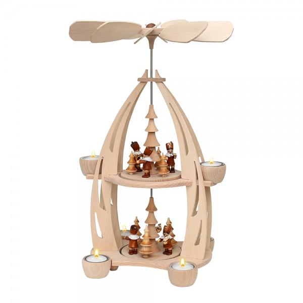 Holz Tischpyramide Bergleute groß für 6 Teelichte 22 x 23 x 45 cm