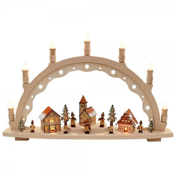 Holz Schwibbogen Sternsinger XL innen beleuchtet Made in Germany (mit VSG-Figuren) 66 x 11 x 40 cm 230 V Kabel, 10 flammig, SPK, XL