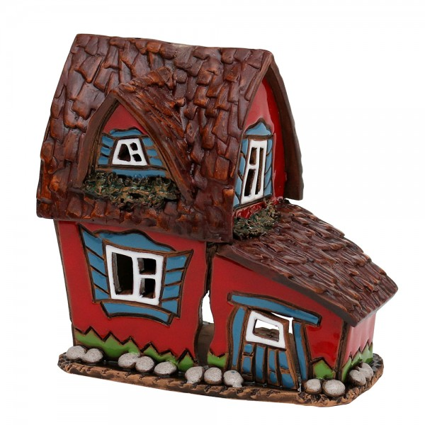 Keramik Licht-Duftölhaus (in Schornstein) rot 11,5 x 7,5 x 11 cm