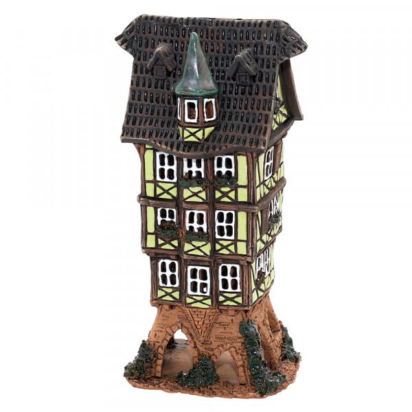 Keramik Licht-Duftölhaus (in Schornstein) Fachwerkhaus 9 x 7 x 16,5 cm