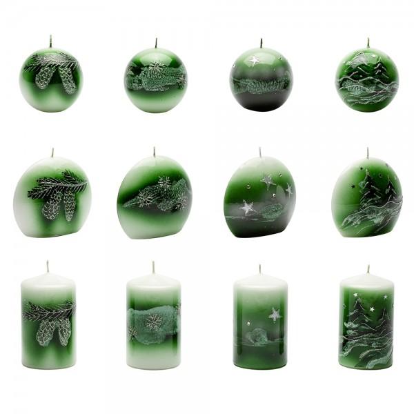 Kerzensortiment Weihnachtsglanz tannengrün (je 4 Stumpen 65x110mm, Diskus 110x100mm, Kugeln 80mm) 12-fach sort. im Set
