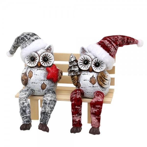 Keramik Kantensitzer Weihnachts-Schneeeule weiß mit Weihnachtsmütze 2-fach sort. 8 x 7,5 x 17 cm im Set