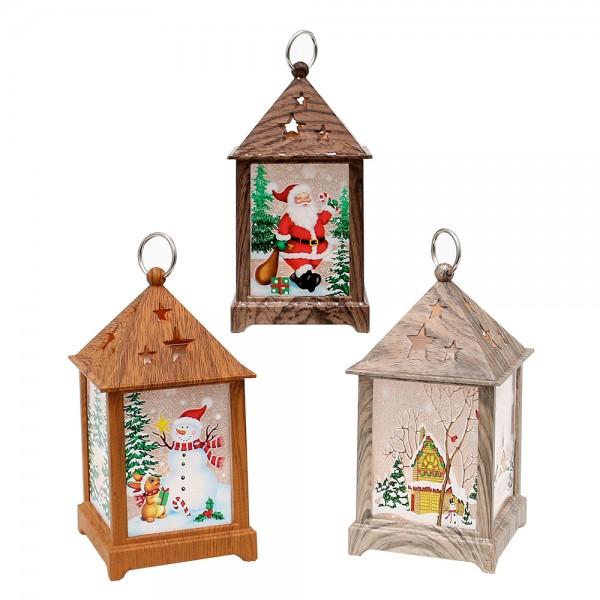 Kunststoff ,LED-Mini-Laterne in Holzoptik mit Weihnachtsmotiven 3-fach sort. 6,5 x 6,5 x 12,5 cm LED im Set