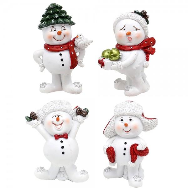 Polyresin Schneemann mit Weihnachtsdeko, weiß/rot 4-fach sort. 4 x 3 x 5 cm im Set