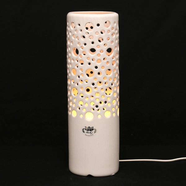 Keramik Zylinderlampe Stella (Leuchtmittel nicht enthalten), Weiß 11 x 8,5 x 34 cm 230 V Kabel, E14