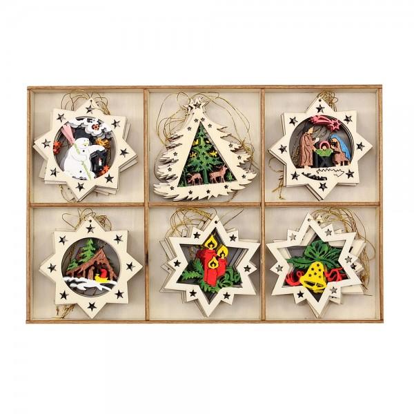 36er Set Holz Baumbehang Sterne mit Goldfaden, bunt/natur 6,5 x 6,5 cm