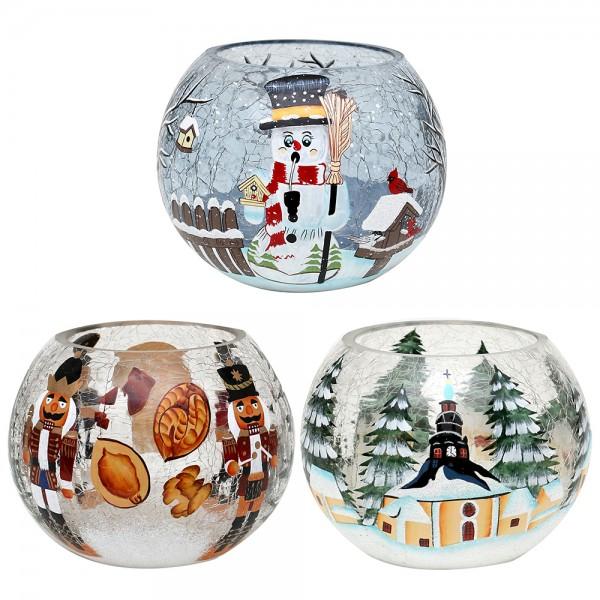Glas Windlicht Kugel Nussknacker, Seiffen, Räucher-Schneemann CRACKED Glas 3-fach sort. 13 x 13 x 10 cm im Set