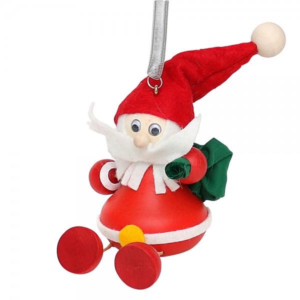 Holz Figur Weihnachtsmann mit Sprungfeder 7 x 6 x 14 cm