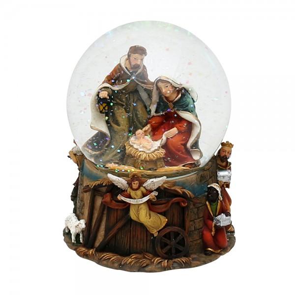 Polyresin Schneekugel Heilige Familie 11 x 11 x 14,5 cm Ø 10 cm Spielwerk Stille Nacht