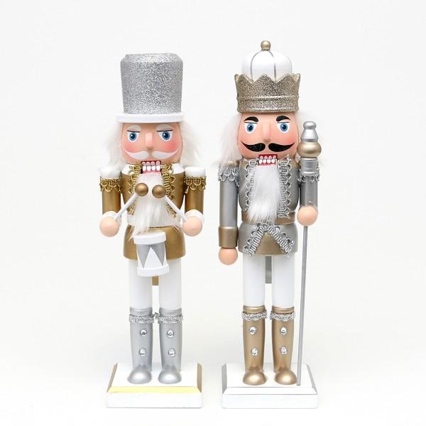 Holz Nussknacker König/Trommler mit Glitter, silber/weiß, gold/weiß 2-fach sort. 8 x 7 x 26 cm im Set