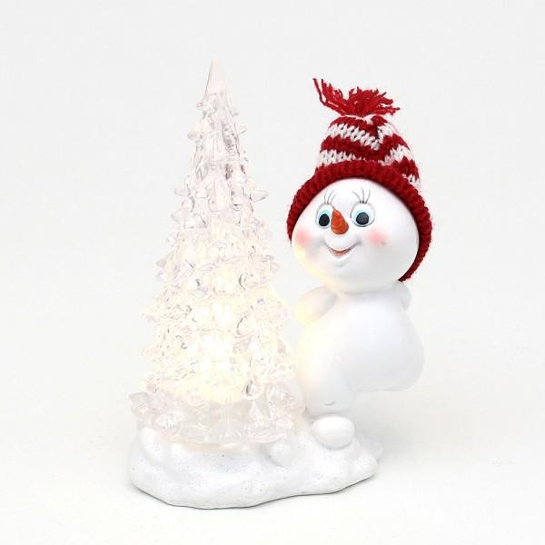 Polyresin Schneekind mit Strickmütze rot/weiß und beleuchtetem Acrylbaum 11 x 6 x 15 cm LED