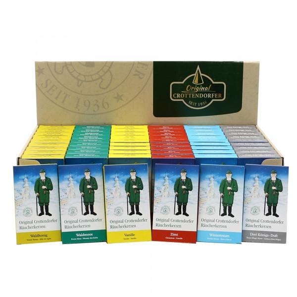 60er Set Crottendorfer-Räucherkerzen Spezial (je 10 von Waldmoos/Waldhonig/Vanille/Zimt/Wintertraum/3 Königsduft) im Display 38 x 22,5 x 11 cm