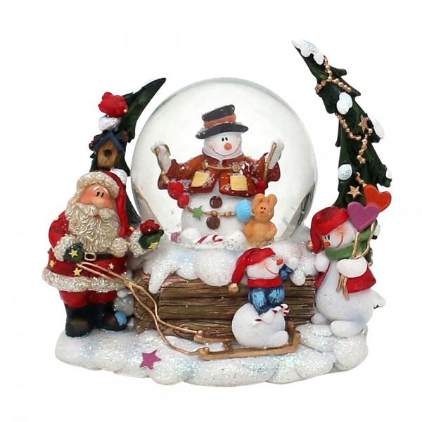 Polyresin Schneekugel Schneemann mit Weihnachtsmann und Tannenbaum 12 x 9,5 x 11 cm Ø 6,5 cm