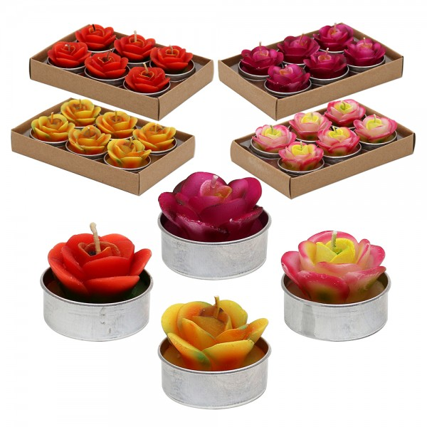 6er Set Teelichte Rosen, orange/gelb/pink/bordeaux geflammt 4-fach sort. 4 x 4 x 3 cm im Set