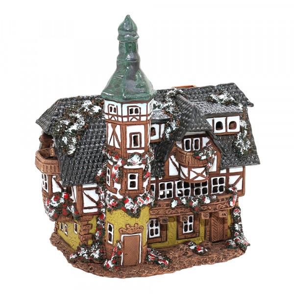 Keramik Licht-Duftölhaus (in Schornstein) Fachwerkhaus 19 x 13 x 21 cm