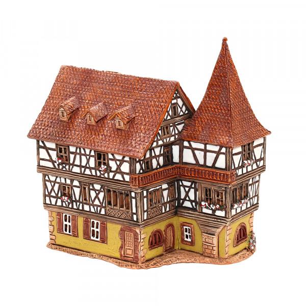 Keramik Licht-Duftölhaus (in Schornstein) Fachwerkhaus 10 x 15 x 17,5 cm