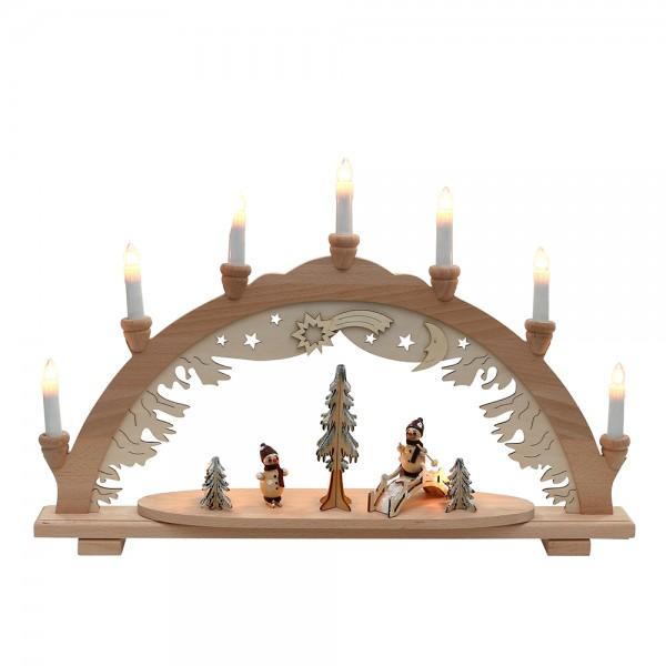 Holz Schwibbogen Schneemann mit Brücke verschneit innen beleuchtet (Premiumholz) 57 x 9 x 38 cm 230 V Kabel, 10 flammig, SPK
