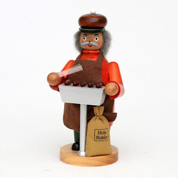 Holz Räuchermann Grillmeister mit rauchendem Holzkohlegrill 10 x 8 x 20 cm