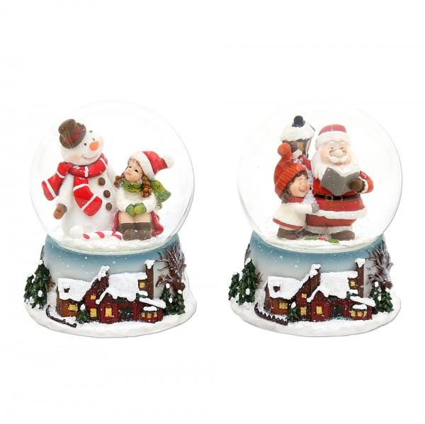 Polyresin Schneekugel Schnee-/Weihnachtsmann mit Kind 2-fach sort. 7 x 7 x 9 cm Ø 6,5 cm im Set